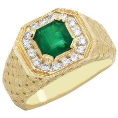 Princess Cut Emerald and Diamond Yellow Gold Men's Ring