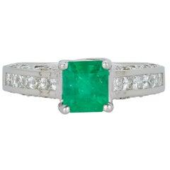 Princess Cut Emerald Diamond Detail Band Engagement Ring 14 Karat White Gold