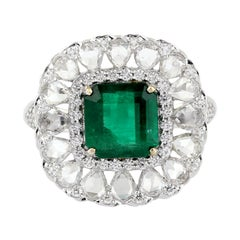 Princess Cut Emerald Ring with Diamonds Around in 18K White Gold