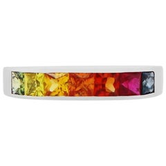 Princess Cut Multi-Color Sapphire Rainbow 14 Karat White Gold Fashion Band Ring