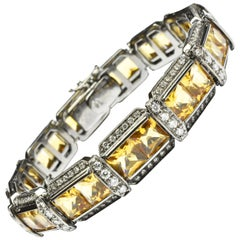 Princess Cut Quartz and Diamonds Black Gold Bracelet, Italy
