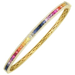 Princess Cut Rainbow Gemstone and Diamond Bracelet Gold, Ben Dannie