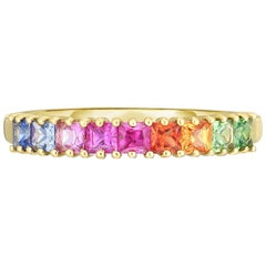 Princess Cut Rainbow Gemstone Half Eternity Band, Gold, Ben Dannie