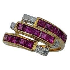 Princess Cut Ruby Diamond Ring Stacking Stack 14 Karat Gold Wedding Engagement