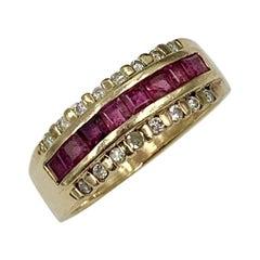 Princess Cut Ruby Diamond Wedding Engagement Band Ring Stacking 14 Karat Gold