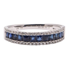 Princess Cut Sapphire and Diamond Band Ring in 18 Carat White Gold