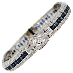 Princess Cut Sapphire and Round Diamond Station Bracelet 18 Karat Gold