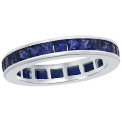 Princess Cut Sapphire White Gold Eternity Ring 14 Karat