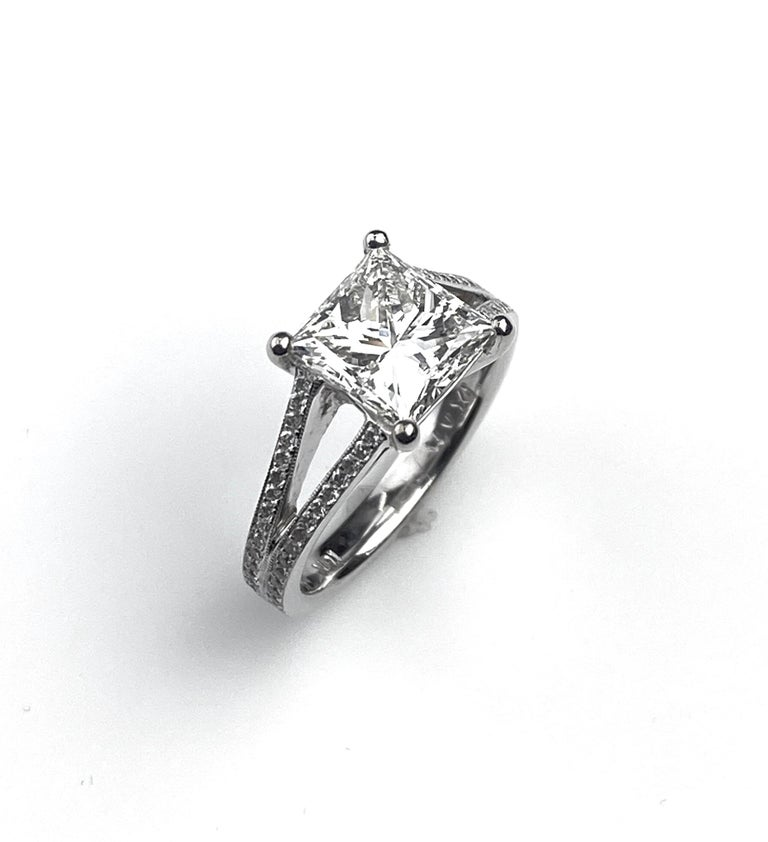 Princess Cut Solitaire Diamond Engagement Ring with Split Shank Setting For Sale 1