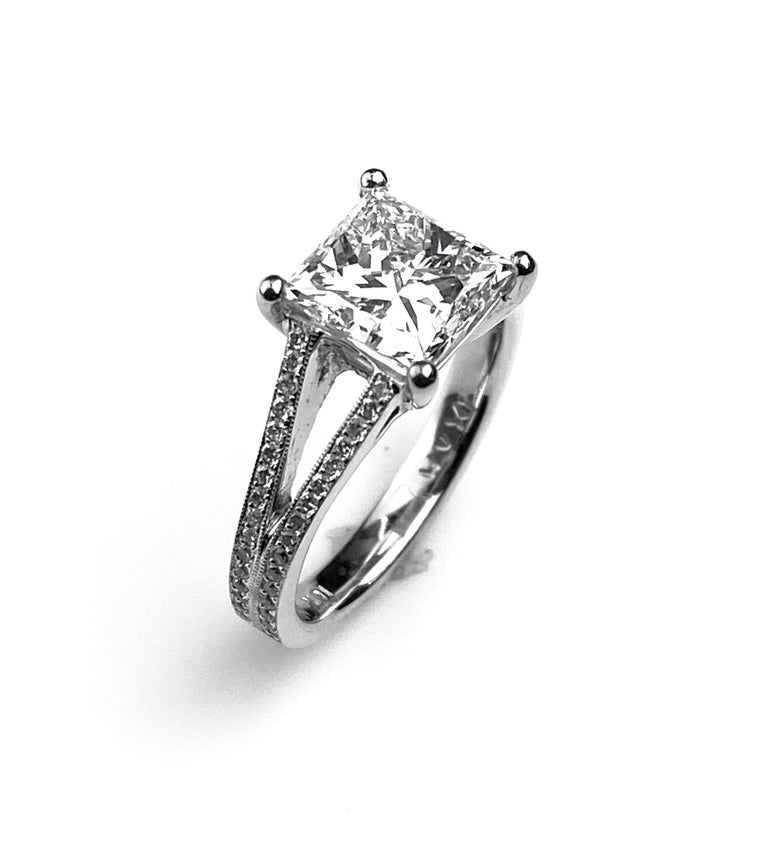 Princess Cut Solitaire Diamond Engagement Ring with Split Shank Setting For Sale 2