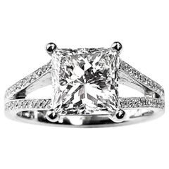 Princess Cut Solitaire Diamond Engagement Ring with Split Shank Setting