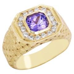 Princess Cut Tanzanite and Diamond Yellow Gold Men's Ring