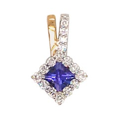 Princess Cut Tanzanite Diamond Pendant 0.56 Carat 14 Karat Gold