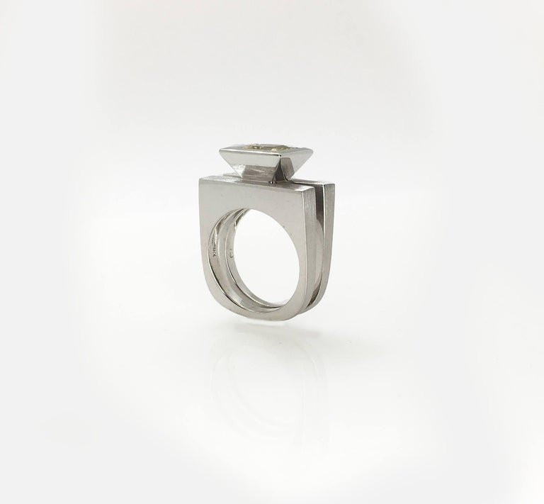 Contemporary Princess Cut Tapered Bezel Parallel Band Ring For Sale