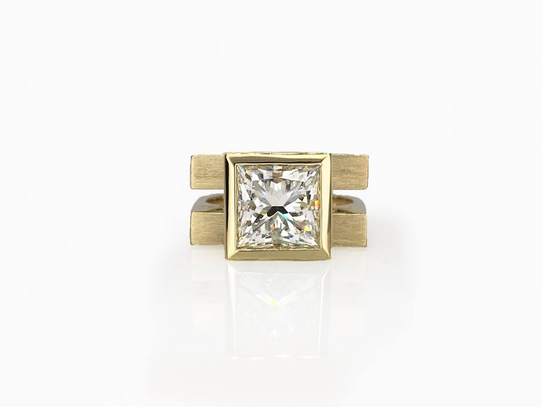 Princess Cut Tapered Bezel Parallel Band Ring For Sale 1