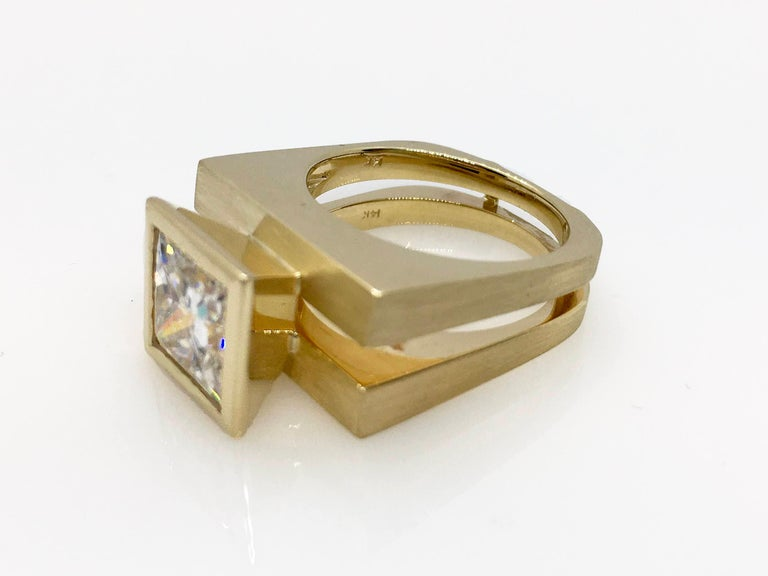 Princess Cut Tapered Bezel Parallel Band Ring For Sale 2