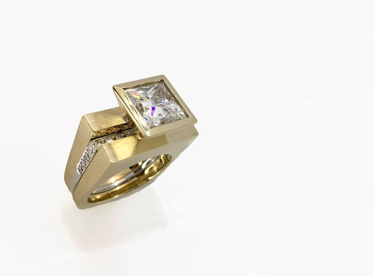 Princess Cut Tapered Bezel Parallel Band Ring For Sale 3