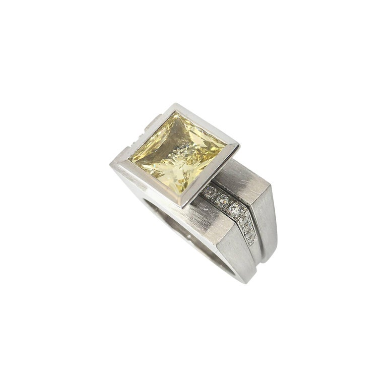 Princess Cut Tapered Bezel Parallel Band Ring For Sale