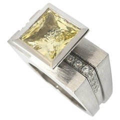 Princess Cut Tapered Bezel Parallel Band Ring