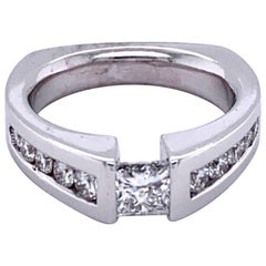 Princess Cut Tension Set Engagement Ring