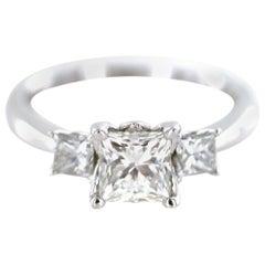 1.45 Carat Princess Cut Three-Stone Diamond 18K White Gold Engagement Ring GIA