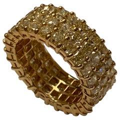Princess Cut Triple Row Eternity Gold Ring with 11.58 Carat Yellow Diamonds