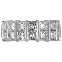Princess Cut Two-Row Eternity Band