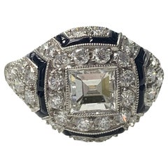Princess Cut White Diamond and Onyx Engagement Ring in Platinum