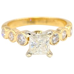 Princess Diamond 1.40 Carat Yellow Gold Engagement Ring