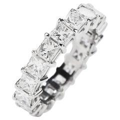 Princess Diamond 4.70 Carat Platinum Eternity Band Ring