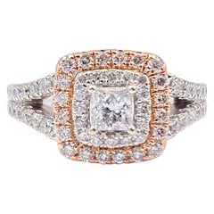 Princess Diamond Double Halo 1.00 Carat Ring 14 Karat White and Rose Gold