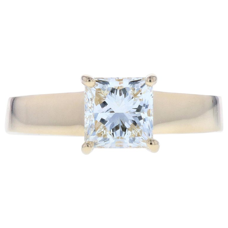 Princess Diamond Engagement Ring with Wide Gold Setting For Sale