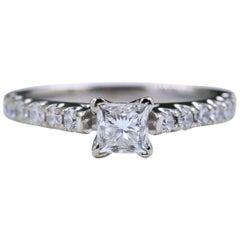 Princess Diamond Ring with Diamond Band 1.00 Carat 14 Karat White Gold