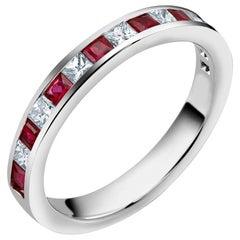 Diamond Alternating Ruby Partial 15 Stone White Gold Ring