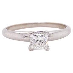 Princess Diamond Solitaire Engagement Ring, 14K White Gold .60 Ct Diamond Ring