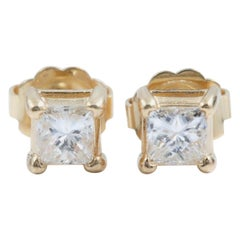 Princess Diamond Solitaire Stud Earrings 0.58 Carat Set in 14 Karat Yellow Gold