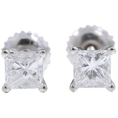 Princess Diamond Solitaire Stud Earrings 1.09 Carat 18 Karat Gold Certificate