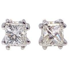 Princess Diamond Stud Earrings 1.00 tcw Double Prong Screw Backs 14kt White Gold