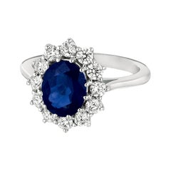 Princess Diana Inspired 3.55 Carat Oval Sapphire and Diamond Ring 14k White Gold