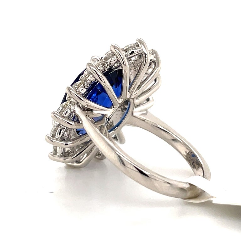 Princess Diana Inspired GIA Certified Sapphire Diamond Ring 15.31 Carats F VS For Sale 4