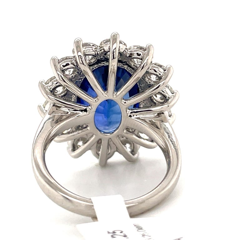 Princess Diana Inspired GIA Certified Sapphire Diamond Ring 15.31 Carats F VS For Sale 5