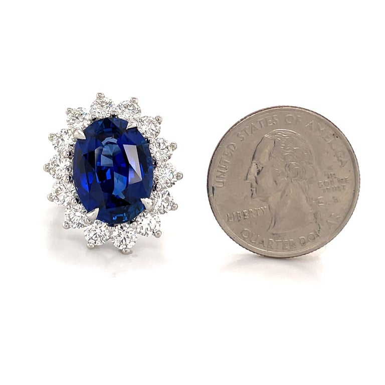 Princess Diana Inspired GIA Certified Sapphire Diamond Ring 15.31 Carats F VS For Sale 6