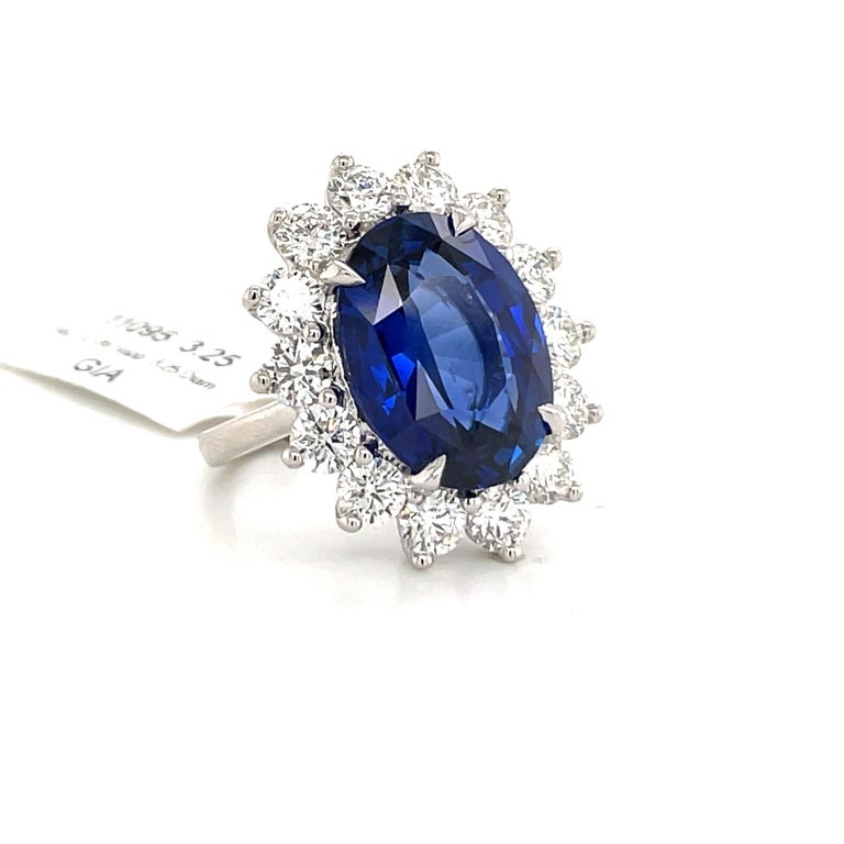 Oval Cut Princess Diana Inspired GIA Certified Sapphire Diamond Ring 15.31 Carats F VS For Sale