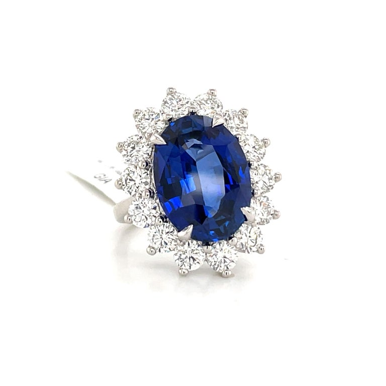 Princess Diana Inspired GIA Certified Sapphire Diamond Ring 15.31 Carats F VS In New Condition For Sale In New York, NY