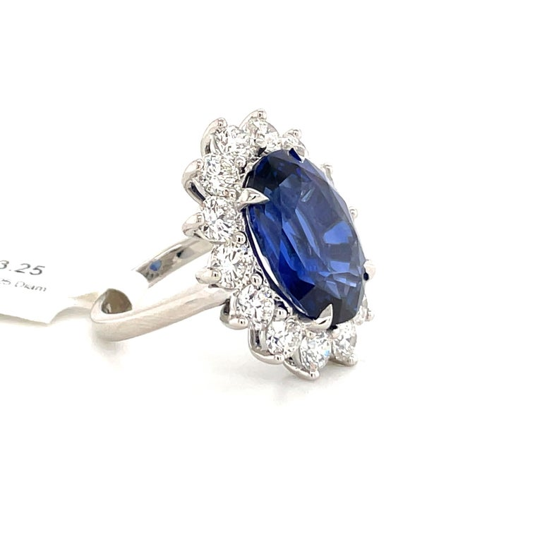 Women's Princess Diana Inspired GIA Certified Sapphire Diamond Ring 15.31 Carats F VS For Sale