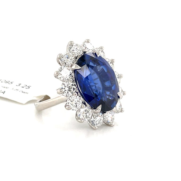 Princess Diana Inspired GIA Certified Sapphire Diamond Ring 15.31 Carats F VS For Sale 1