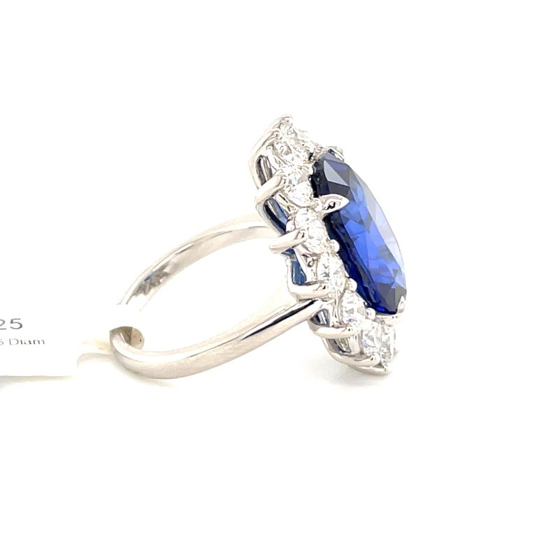 Princess Diana Inspired GIA Certified Sapphire Diamond Ring 15.31 Carats F VS For Sale 2