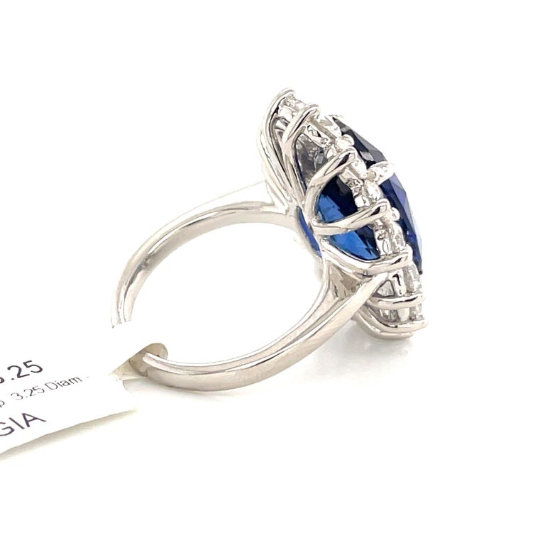 Princess Diana Inspired GIA Certified Sapphire Diamond Ring 15.31 Carats F VS For Sale 3