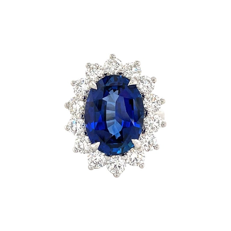 Princess Diana Inspired GIA Certified Sapphire Diamond Ring 15.31 Carats F VS For Sale
