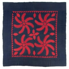 Princess Feather Quilt Highly Unusual Red and Dark Blue, CA 1870-1885